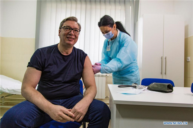 Serbian president receives injection of Chinese COVID-19 vaccine